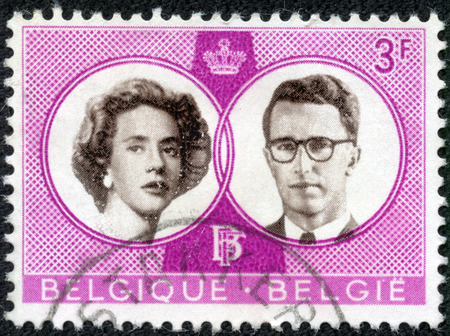 baudouin: CHONGQING, CHINA - April 16, 2014:a stamp printed By Belgium shows King Baudouin and Queen Fabiola, circa 1960 Editorial