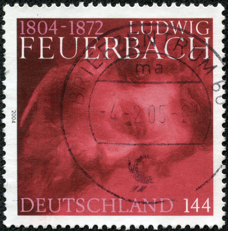 anthropologist: CHONGQING, CHINA - April 17, 2014 : A stamp printed in Germany shows Feuerbach, circa 2004