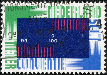 metric: A stamp printed by Netherlands, shows Metric System, circa 1975