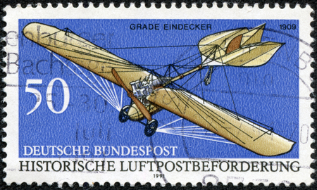 monoplane: A stamp printed in the Germany shows Grade Eindecker, 1909, Historic Aircraft, circa 1991 Stock Photo