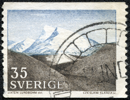 cusp: A stamp printed by Sweden, shows The Fjeld by Sixten Lundbohm, circa 1967