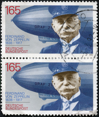 ferdinand: CHONGQING, CHINA - May 17, 2014:stamp printed in Germany shows Ferdinand Graf Von Zeppelin (1838-1917), electrical engineer, German general and Airship Builder, circa 1992 Editorial