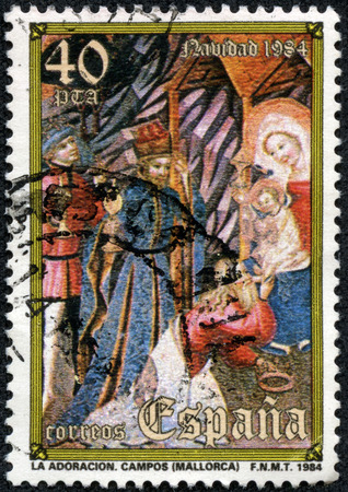 adoration: A stamp printed in the Spain shows Adoration of the Kings, Christmas, circa 1984
