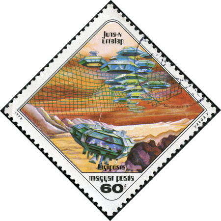 pal: Printed in stamp Hungary shows Paintings Moon settlement with the same inscription from the series Science Fiction Paintings by Pal Varga circa 1978