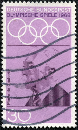 coubertin: Printed in stamp Germany from the Olympic Games Promotion Fund 1st series issue shows Pierre de Coubertin founder of Olympics circa 1968 Editorial