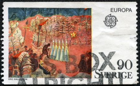 year s: Printed by stamp Sweden shows New Year s Eve at Skansen by Eric Hallstrom circa 1975