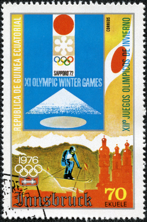 olympics: A stamp printed in Equatorial Guinea, shows Winter Olympics, circa 1976