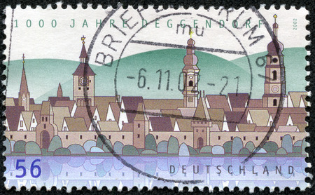 bayern old town: stamp printed in Germany, shows the Town of Deggendorf