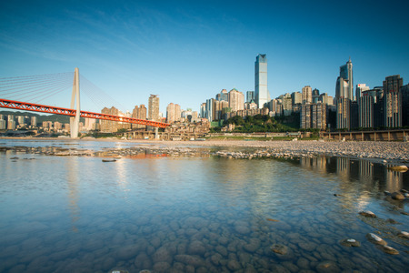 counties: CHONGQING, CHINA - August 3, 2015:Chongqing city skyline on the Jialing River.Chongqing is the largest direct-controlled municipality and comprises 19 districts, 15 counties and 4 counties.