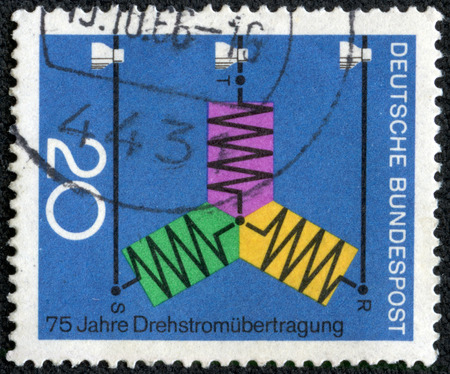 bundespost: CHONGQING CHINA - May 72014 A printed Germany from Scientific 2nd series shows diagram of C Transmission 75th issue anniversary circa 1966 in in, A