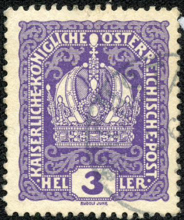 CHONGQING, CHINA - May 9, 2014:A stamp printed in Austria, shows Austrian Imperial Crown, without inscriptions, from series Imperial Crown, circa 1916