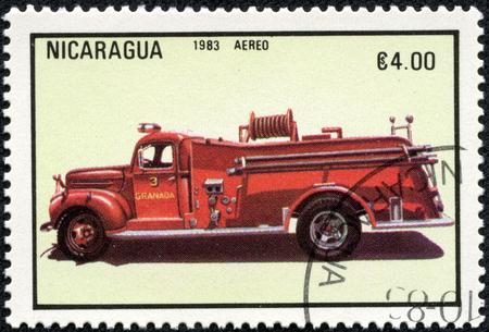 stamp printed in Nicaragua shows firetruck, series, circa 1983