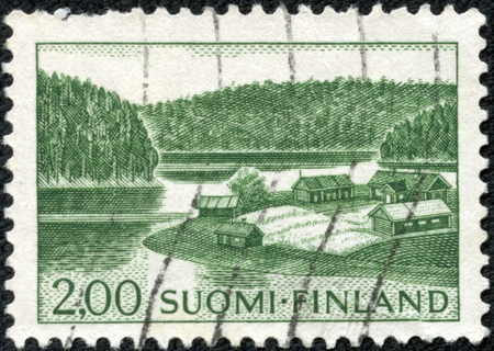 stamp printed by Finland, shows Farm on Lake Shore, circa 1964