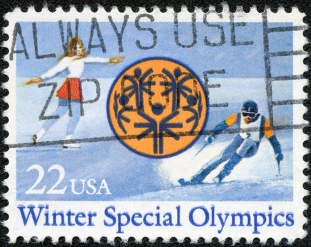 A stamp printed in USA dedicated to Winter Special Olympics in Park City, Utah, circa 1985