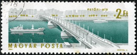 stamp printed by Hungary, shows Petofi Bridge, circa 1964 Stock Photo