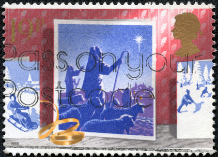 stamp printed in the Great Britain shows Shepherds see star, Christmas Card, circa 1988