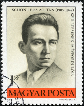 czechoslovak: stamp printed by Hungary, shows Zoltan Shonherz-figure Czechoslovak,Hungarian and international Communist and workers  movement, circa 1980