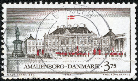 residences: stamp printed in Denmark from the Royal Residences  issue shows Amalienborg Castle, Copenhagen, circa 1994.