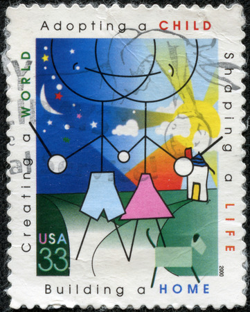 stamp printed in the United States of America shows image celebrating those who adopt children, series, circa 2000