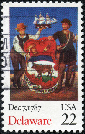 CHONGQING, CHINA - May 10, 2014:a stamp printed in USA, dedicated to the 200th anniversary the ratification of the Constitution, Delaware, circa 1987 Stock Photo