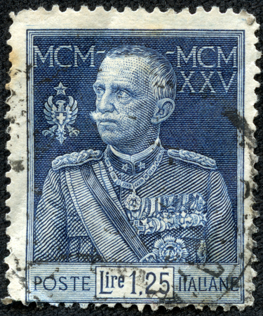 CHONGQING, CHINA - May 10, 2014:a post stamp printed in ITALY, the series The 25th Year of the Reign of Victor Emmanuel III, circa 1925