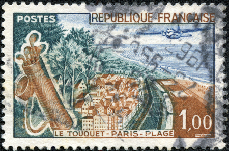 CHONGQING, CHINA - May 10, 2014:A stamp printed by FRANCE shows birds eye view of Le Touquet-Paris-Plage (Le Touquet) - commune near Boulogne-sur-Mer in northern France, circa 1961