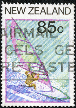 Stamp printed in New Zealand from the Tourism  issue shows Windsurfing, circa 1987.