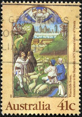 オーストラリア - 年頃 1989年スタンプ クリスマス点灯原稿問題からオーストラリアで印刷には、時間、c 1475、1989 年頃の羊飼い Wharncliffe 本に受胎告 報道画像