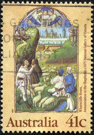 AUSTRALIA - CIRCA 1989 A stamp printed in Australia from the Christmas Illuminated Manuscripts issue shows Annunciation to the Shepherds Wharncliffe Book of Hours, c 1475, circa 1989