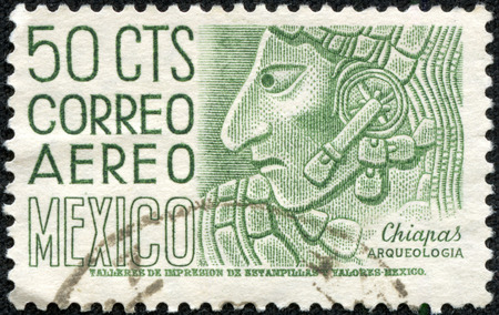 CHONGQING, CHINA - May 10, 2014:A stamp printed in Mexico shows image of an archaeological find in Chiapas, Mexico, series, circa 1960