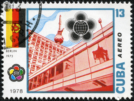 CUBA-CIRCA 1978: A stamp printed in Cuba,shows postage stamp X World Youth Festival in Berlin.International festival of youth and students in 1973, circa 1978.