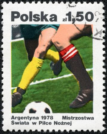 POLAND - CIRCA 1978: Football match. Two football players, circa 1978.