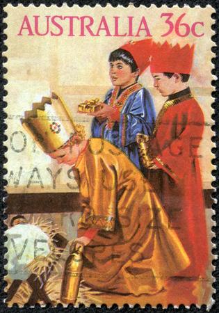 重慶, 中国 - 2014 年 5 月 10 日: 切手、クリスマス問題幼稚園キリスト降誕劇を示すオーストラリアで印刷: 1986年年頃の 3 人の王 報道画像