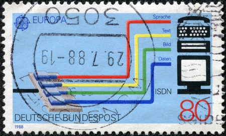 GERMANY - CIRCA 1988 A stamp printed in German Federal Republic dedicated to Transport and communication, shows the Integrated Services Digital Network ISDN system, circa 1988
