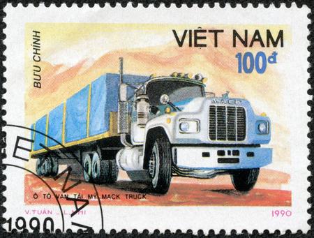 Vietnam - CIRCA 1990: A stamp printed in Vietnam shows truck, circa 1990 Editöryel