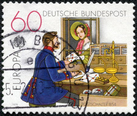 CHONGQING, CHINA - May 10, 2014:a stamp printed in the Germany shows Post Office Window, 1854, circa 1979