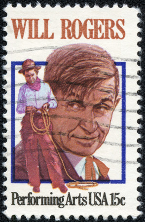 CHONGQING, CHINA - May 10, 2014:A stamp printed by USA shows image portrait of William Penn Adair Will Rogers, circa 1979 Editorial