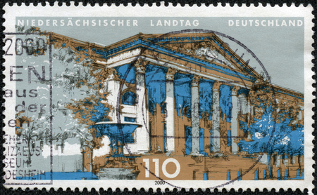 GERMANY - CIRCA 2000: A stamp printed in Germany shows Landtag of Lower Saxony, circa 2000 Stok Fotoğraf