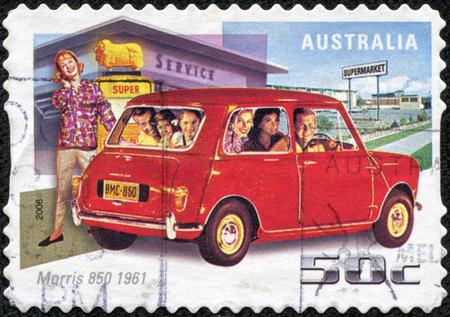 CHONGQING, CHINA - May 10, 2014:A stamp printed in Australia shows Morris 850, 1961, circa 2006 Editorial