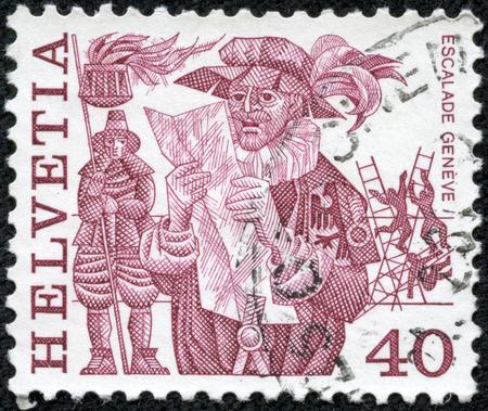 重慶, 中国 - 5 月 10 日 2014:A スタンプ Switzerlandis で印刷にヘラルド布告、1977 年ごろ、ジュネーブ、壁をスケーリングの男性が描かれています。