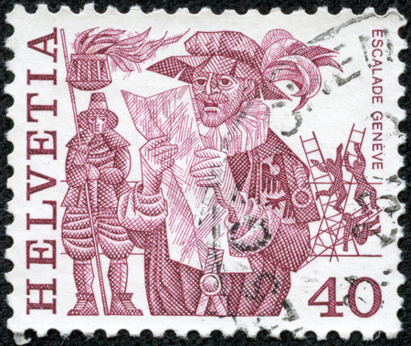 CHONGQING, CHINA - May 10, 2014:A stamp printed in Switzerlandis depicted Herald reading proclamation and men scaling wall, Geneva, circa 1977