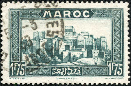 重慶, 中国 - 2014 年 5 月 10 日: モロッコの印刷スタンプは大正 12 年頃の古いビューを示しています。 報道画像
