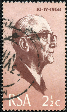 CHONGQING, CHINA - May 10, 2014:a stamp printed in South Africa shows President Jacobus Johannes Fouche, served as the second State President from 1975 to 1978, circa 1968