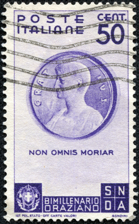 CHONGQING, CHINA - May 10, 2014:A stamp printed in Italy shows Medallion with Horace (Museo di Cracovia), inscript Non omnis morinar - I shall not altogether die, circa 1936