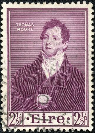 CHONGQING, CHINA - May 10, 2014:A stamp printed in Ireland shows Thomas Moore, Poet, Death Centenary, circa 1952