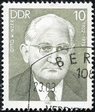 CHONGQING, CHINA - May 10, 2014:A stamp printed by Germany, shows Otto Winzer, circa 1982
