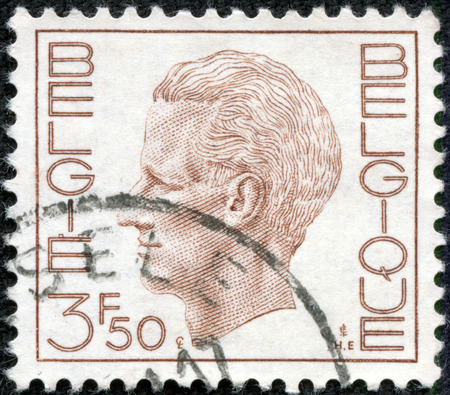 CHONGQING, CHINA - May 10, 2014:A Stamp printed in BELGIUM shows the portrait of a Baudouin as King of Belgians, circa 1980