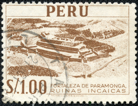 CHONGQING, CHINA - May 10, 2014:A stamp printed in Peru shows Fortress Paramonga - Inca Ruins, circa 1966 Editöryel