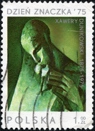 CHONGQING, CHINA - May 10, 2014: A stamp printed in Poland showing a sculpture of Breath on the 100th anniversary of Xawery Dunikowski, circa 1975