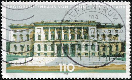 CHONGQING, CHINA - May 11, 2014:A stamp printed by Germany, shows Berlin, Europe, circa 1998 Editöryel
